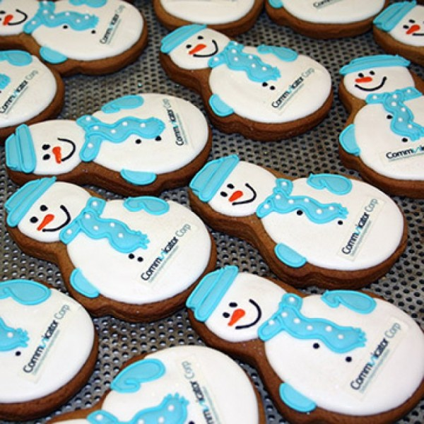 Seasonal Corporate Snowman Cookies