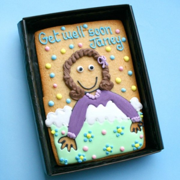 Small Cookie Gift Box: Get Well Soon Bed Cookie