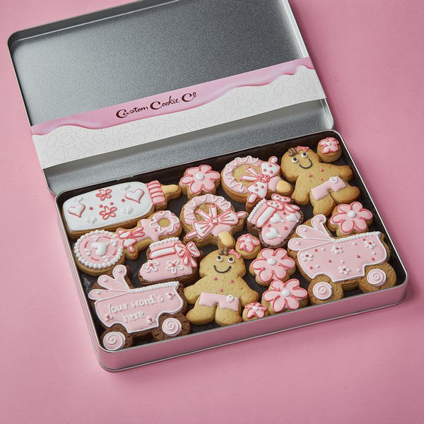 Large Baby Cookie Gift Tin Pink