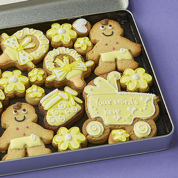 Large Baby Cookie Gift Tin Yellow
