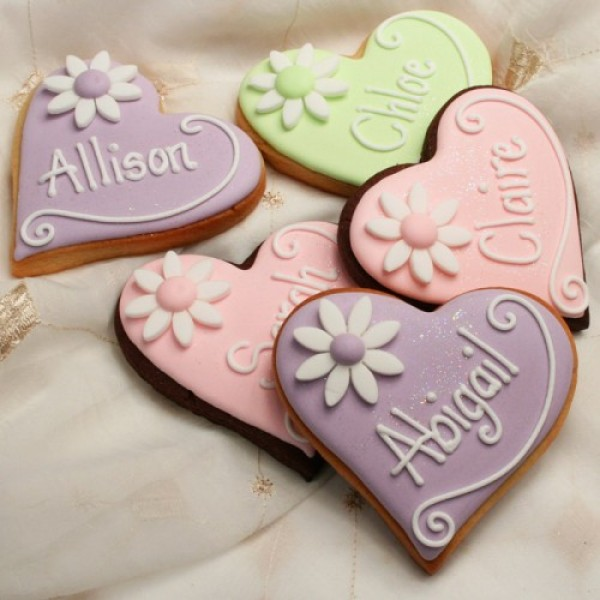 Personalised Heart Cookie Favours or Place Names