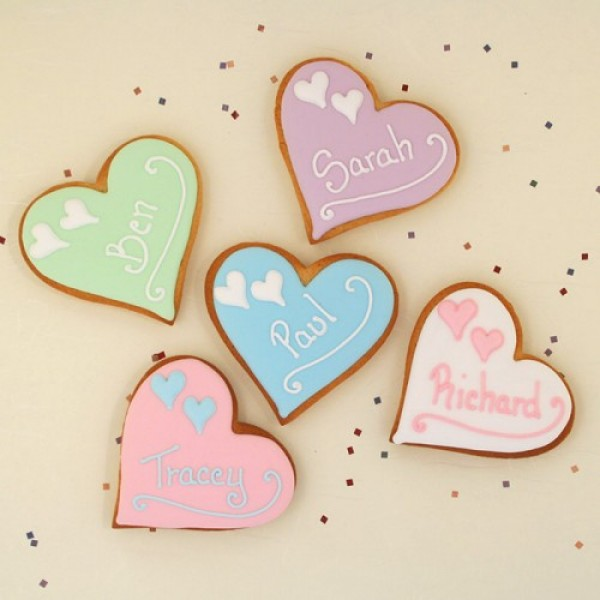 Heart with Heart Cookie Favours or Place Names
